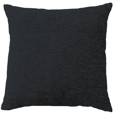Solid Square Chenille Throw Pillow Black - Threshold™