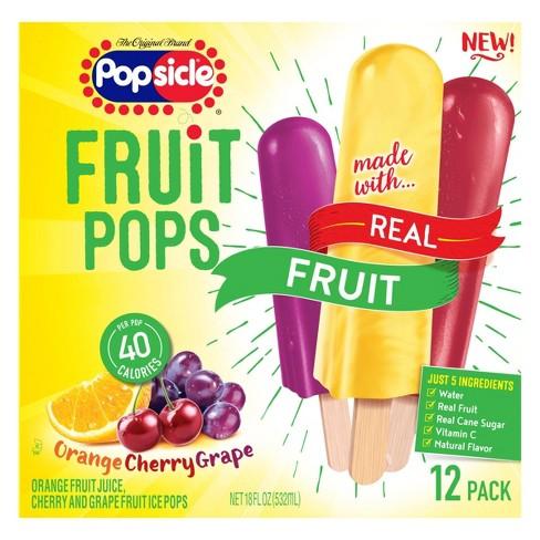 Popsicle Orange Cherry Grape Frozen Fruit Pop - 12ct - image 1 of 4