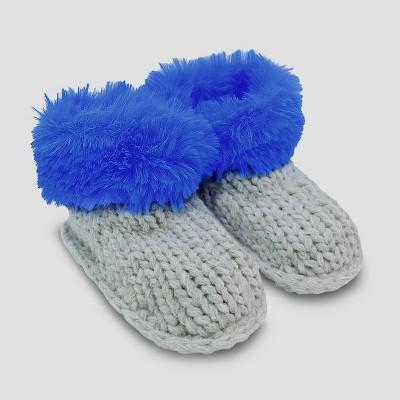 Baby Boys' Faux Fur Bootie Slippers - Cat & Jack™ Blue 0-6M