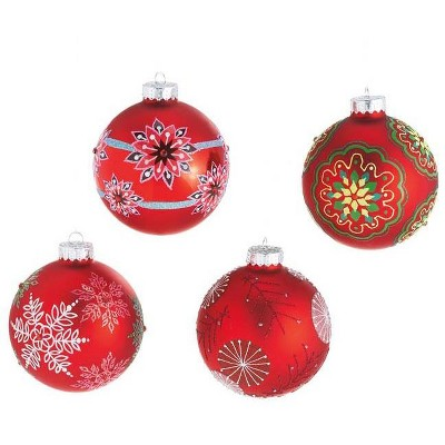 """Ganz 4ct Dazzling Red Snowflake Glass Christmas Ball Ornaments 3.5"""" (90mm)"""