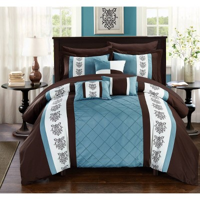 Queen 10pc Dalton Bed In A Bag Comforter Set Brown - Chic Home Design