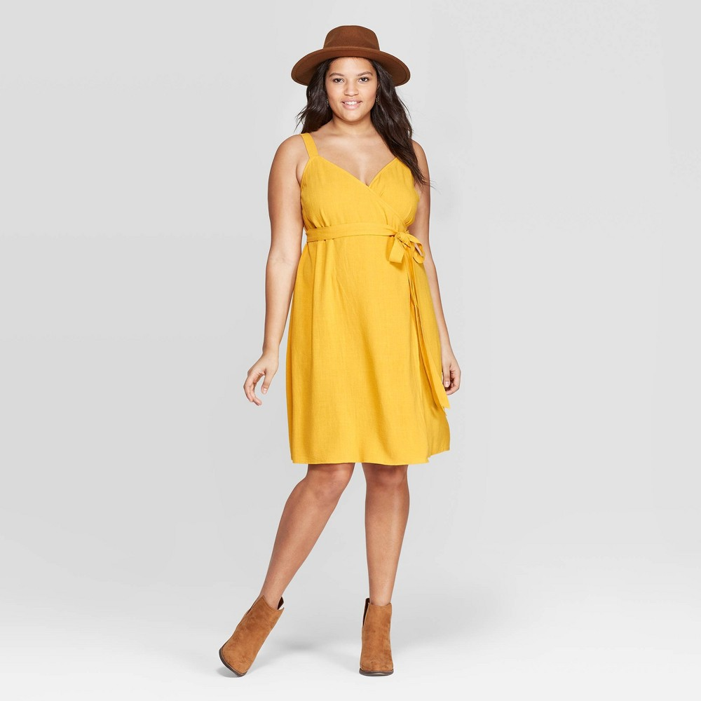 Women's Plus Size Sleeveless V-Neck Wrap Dress - Universal Thread Yellow 1X