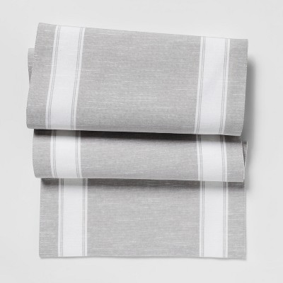 72 x14  Stripe Table Runner Gray - Threshold™