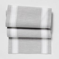 """72""""x14"""" Stripe Table Runner Gray - Threshold™"""