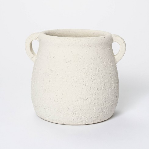 """7"""" x 7.5"""" Rustic Weathered Planter White - Threshold™ designed with Studio McGee - image 1 of 4"""