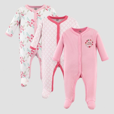 Luvable Friends Baby Girls' 3pk Floral Sleep and Play Set - Pink 3-6M