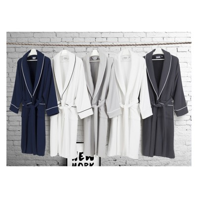 L/XL Waffle Terry Solid Bathrobe Navy - Linum Home Textiles