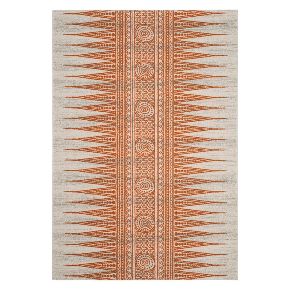 4 39 X6 39 Geometric Design Loomed Area Rug Ivory Orange Safavieh