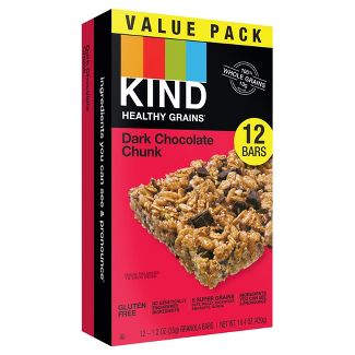 KIND Healthy Grains Dark Chocolate Chunk, Gluten Free Granola Bars - 12ct