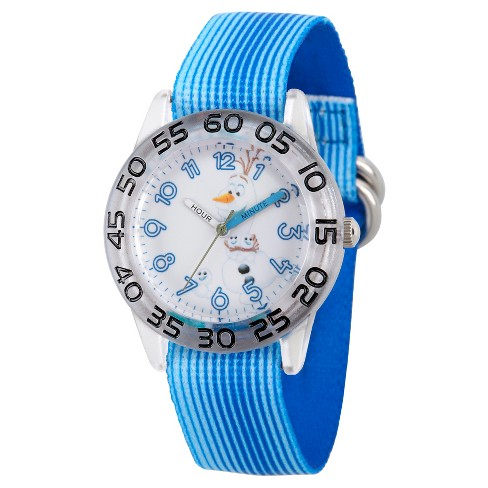 Boys' Disney Frozen Olaf Clear Plastic Time Teacher Watch - Blue - image 1 of 2