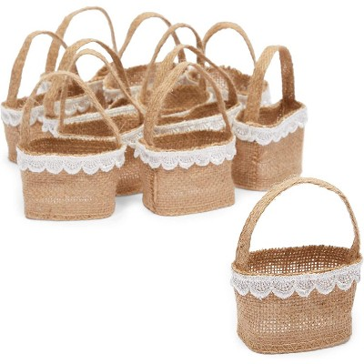 Sparkle and Bash 12-Pack Jute Flower Girl Baskets with Lace for Wedding Party Supplies (2.3 x 3.9 In)