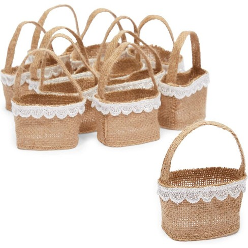 Sparkle and Bash 12-Pack Jute Flower Girl Baskets with Lace for Wedding Party Supplies (2.3 x 3.9 In) - image 1 of 4