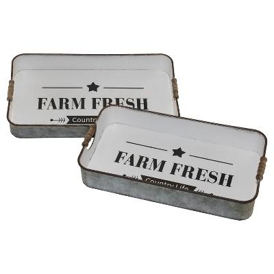 Metal Farm Fresh Decorative Tray Set Whtie 2pk - VIP Home & Garden