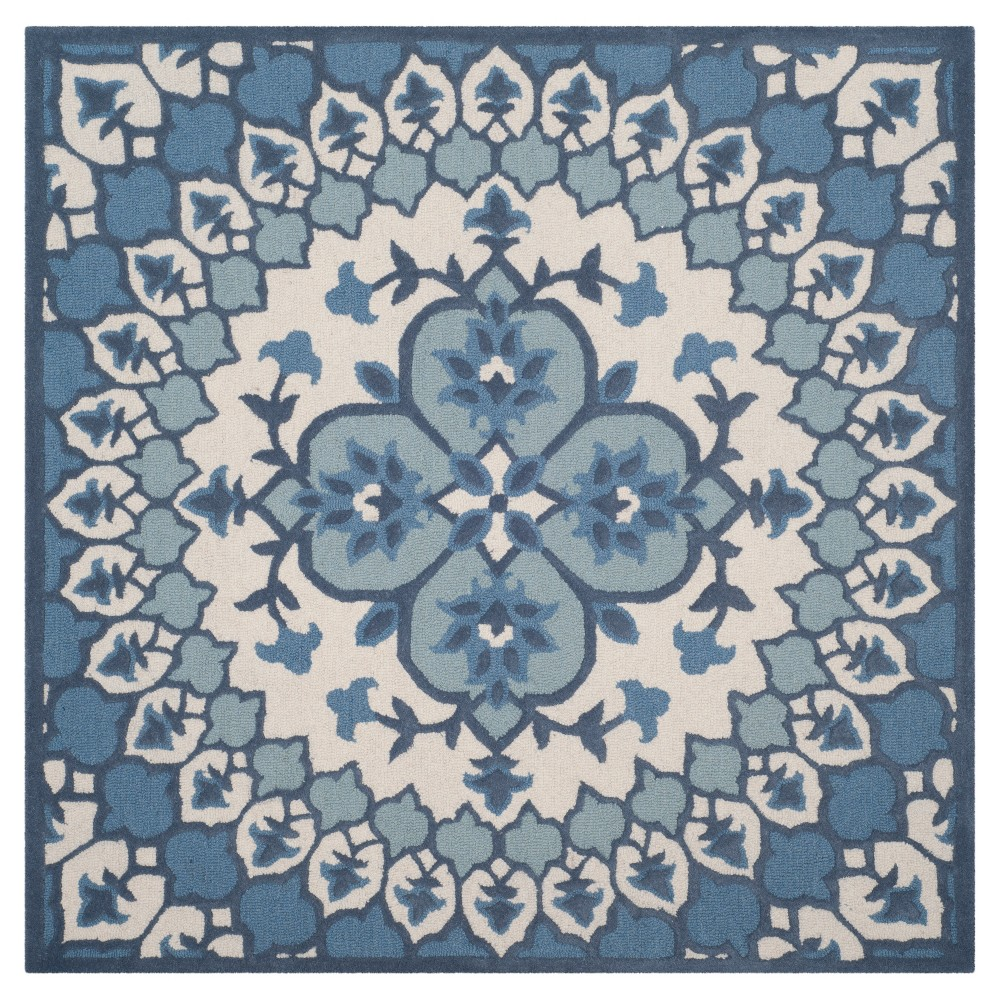 Ivory /Blue (Ivory/Blue) Medallion Tufted Square Area Rug 5'X5' - Safavieh