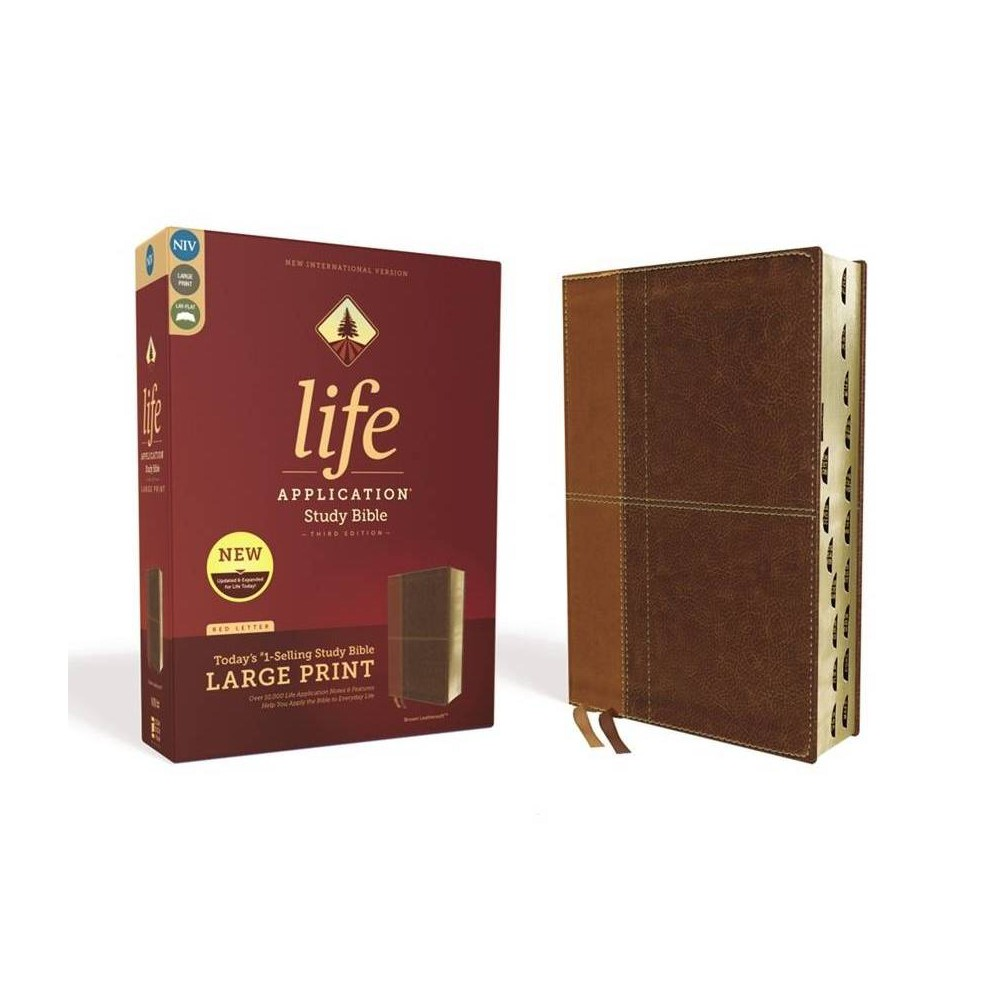 Niv Life Application Study Bible Third Edition Large Print Leathersoft Brown Indexed Red Letter Edition By Zondervan Leather Bound