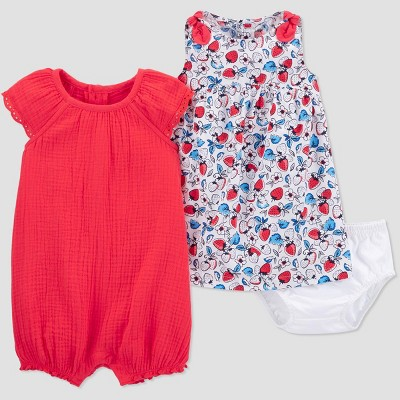 Baby Girls' 2pk Floral Romper Dress Set - Just One You® made by carter's Red 3M