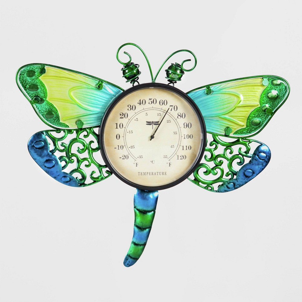 14 Metal/Plastic Dragonfly Outdoor Wall Thermometer - Evergreen, Multi-Colored