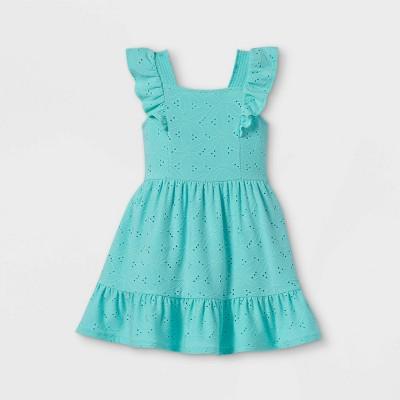 Toddler Girls' Eyelet Tank Ruffle Dress - art class™ Light Blue