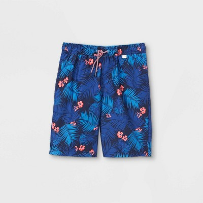 Boys' Leaf Print Swim Trunks - Cat & Jack™ Blue