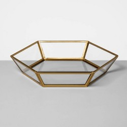 """9"""" x 1.5"""" Glass and Brass Curio Tray Clear/Gold - Opalhouse™"""