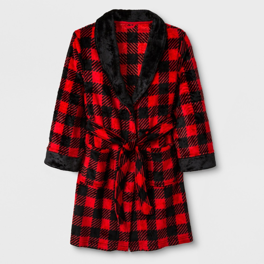 Boys' Cozy Plaid Robe - Cat & Jack Red/Black L
