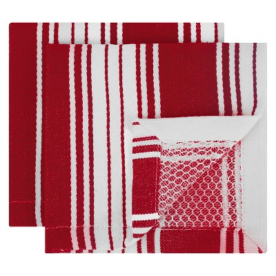 Striped Dish Cloth Red Set of 2 - Mu Kitchen