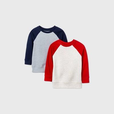 Toddler Boys' 2pk Fleece Crew Neck Sweatshirt - Cat & Jack™ Navy