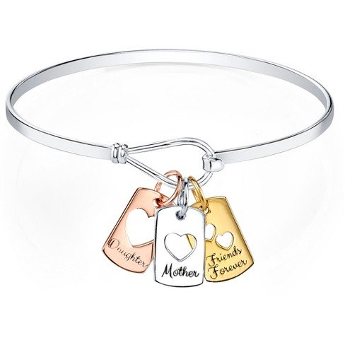 "Silver Plated Tri-Tone Mother Daughter Friends 3Pc Charm Bangle - Silver/Pink/Gold (8"") - image 1 of 1"