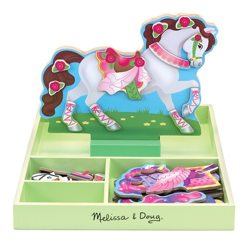 Melissa & Doug® My Horse Clover Wooden Doll and Stand With Magnetic Dress-Up Accessories (60 pc - image 1 of 3