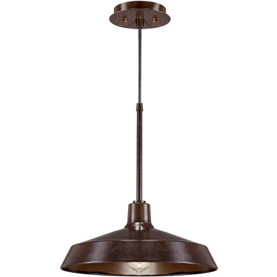 """Franklin Iron Works Warm Bronze Pendant Light 15"""" Wide Farmhouse Industrial Inverted Flat Bowl Shade Fixture for Kitchen Island"""