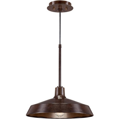 """Franklin Iron Works Warm Bronze Pendant Light 15"""" Wide Farmhouse Industrial Inverted Flat Bowl Shade Fixture for Kitchen Island - image 1 of 4"""