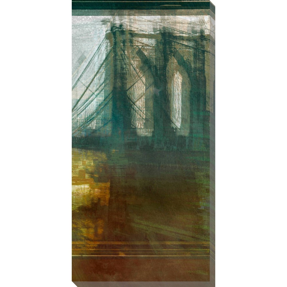 Image of Brooklyn Bridge Abstract Unframed Wall Canvas Art - (18X36)
