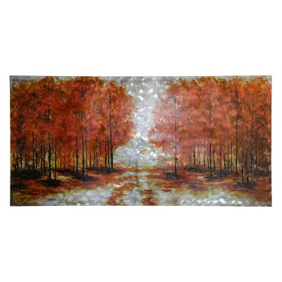 30  Landscape On Texturized Metal Panel Hand Painted Decorative Wall Art - StyleCraft