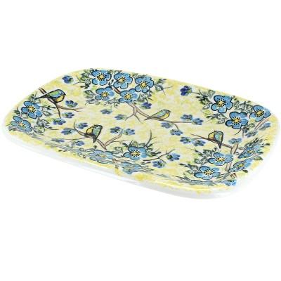 Blue Rose Polish Pottery Bluebird Garden Medium Rectangular Platter