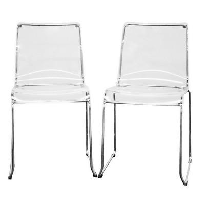 Genial Lino Transparent Acrylic Dining Chair   Clear (Set Of 2)   Baxton Studio