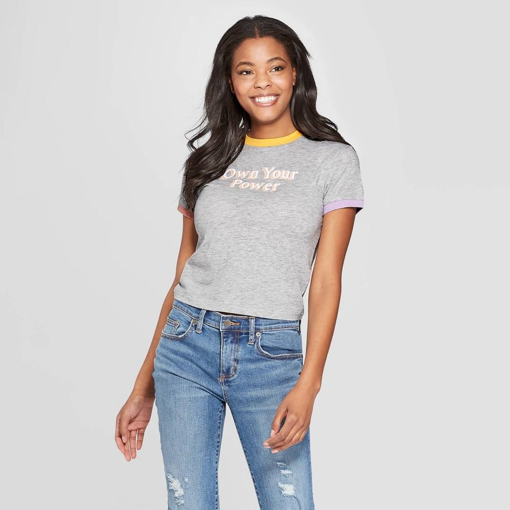 Women's Short Sleeve Own Your Power Graphic T-Shirt - Freeze (Juniors') - Gray XL
