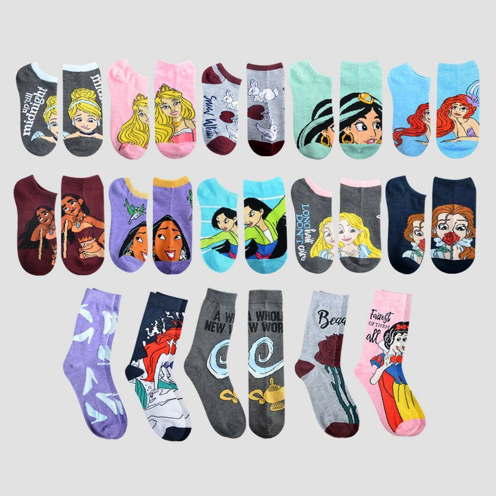 Image of Women's Disney Princess 15 Days of Socks Advent Calendar - Assorted Colors One Size, Women's, MultiColored