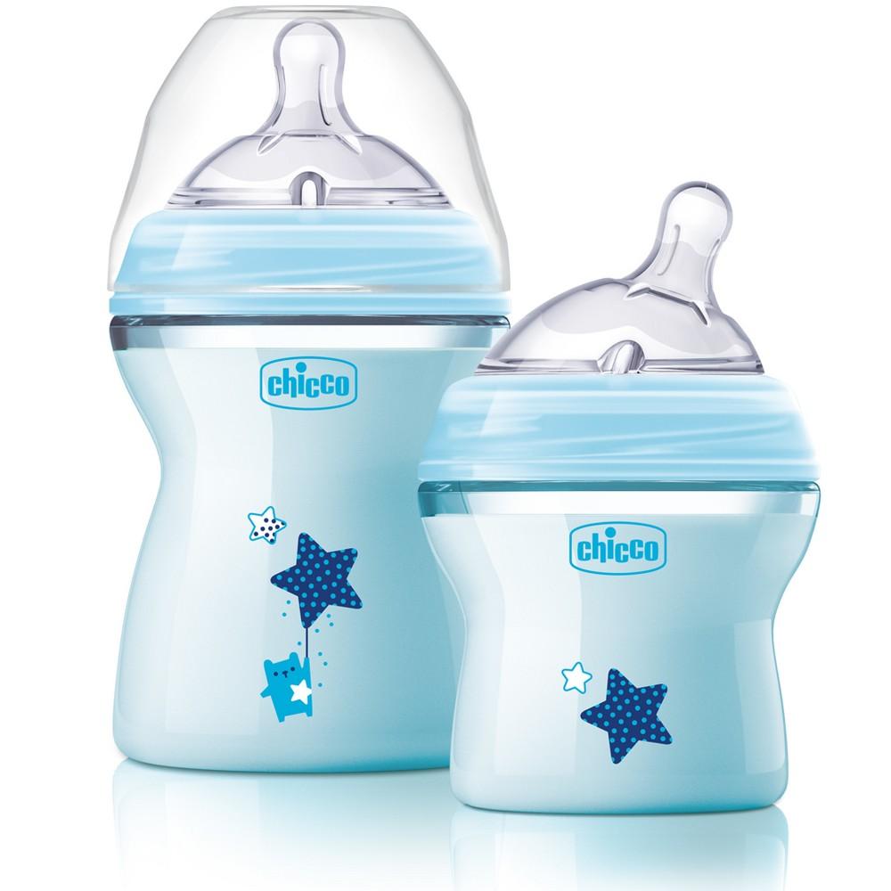Image of Chicco Natural Fit Colorific Bottle - Blue 2pk