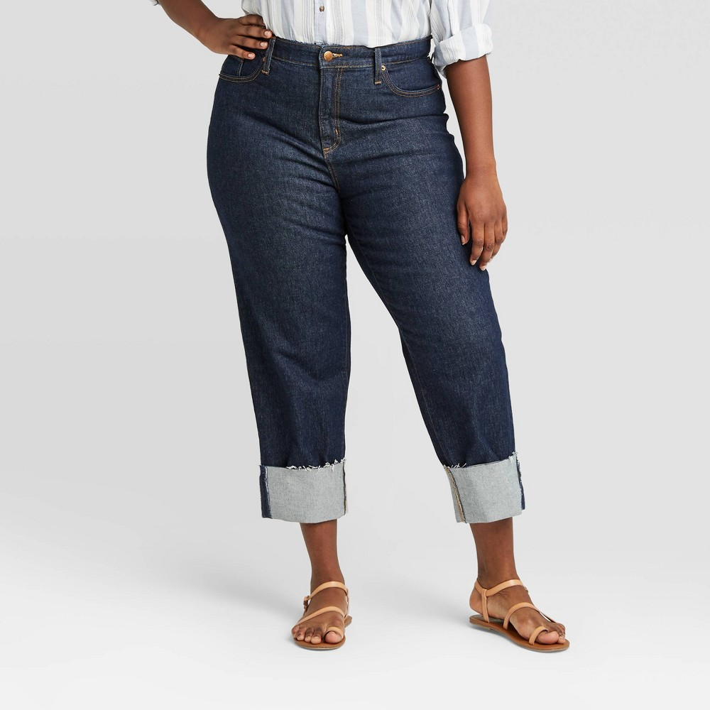 1950s Pants & Jeans- High Waist, Wide Leg, Capri, Pedal Pushers Womens Plus Size High-Rise Cropped Straight Jeans - Universal Thread Dark Blue 26W $29.99 AT vintagedancer.com