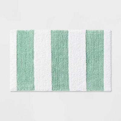 Rugby Stripe Bath Rug Teal - Pillowfort™