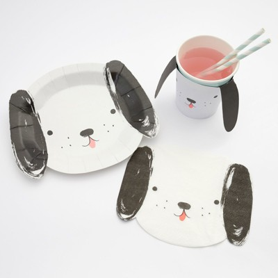 Meri Meri - Dogs Party Supplies Collection (Plate, Napkin & Cup) - Set of 8