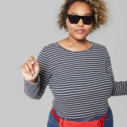 Women's Plus Size Long Sleeve Crew neck T-Shirt - Wild Fable™ Navy/White Stripe - image 1 of 3