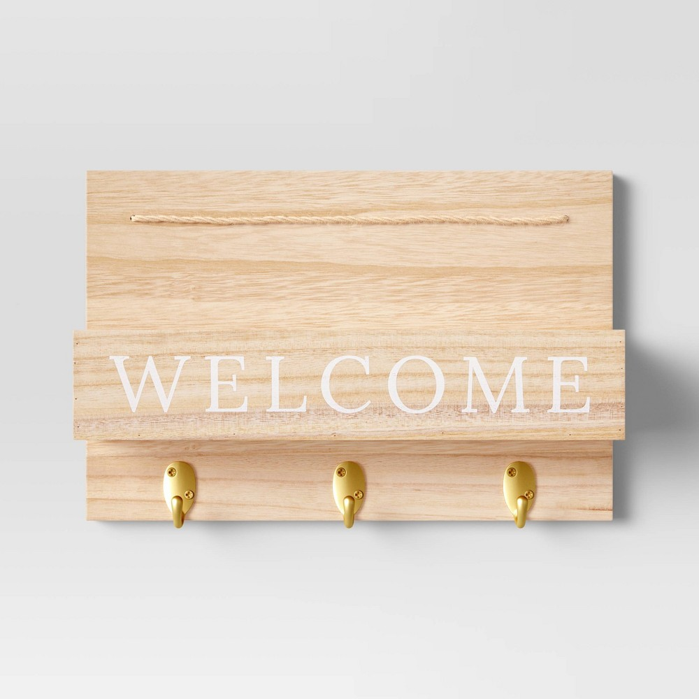 15 34 X 10 34 Wood Welcome Mail Station Light Gray Threshold 8482