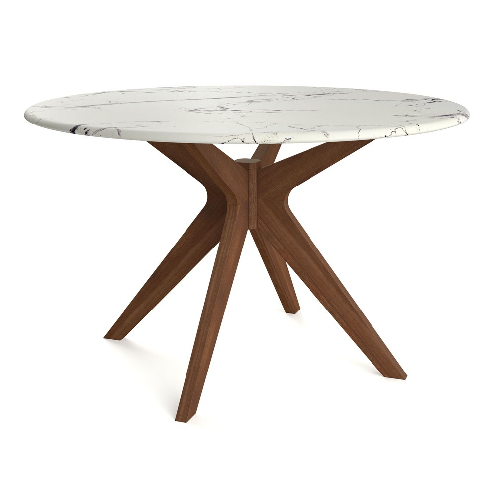 50 Elysian Round Dining Table with Faux Marble Top Walnut (Brown) - Aeon