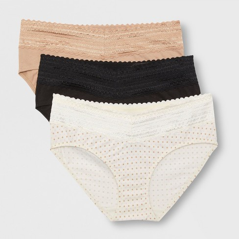 471fdeaf6efc Simply Perfect by Warner's Women's 3pk No Muffin Cotton Hipster with Lace