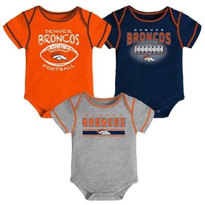 NFL Denver Broncos Baby Boys' Bodysuit Set 3pk - 3-6M