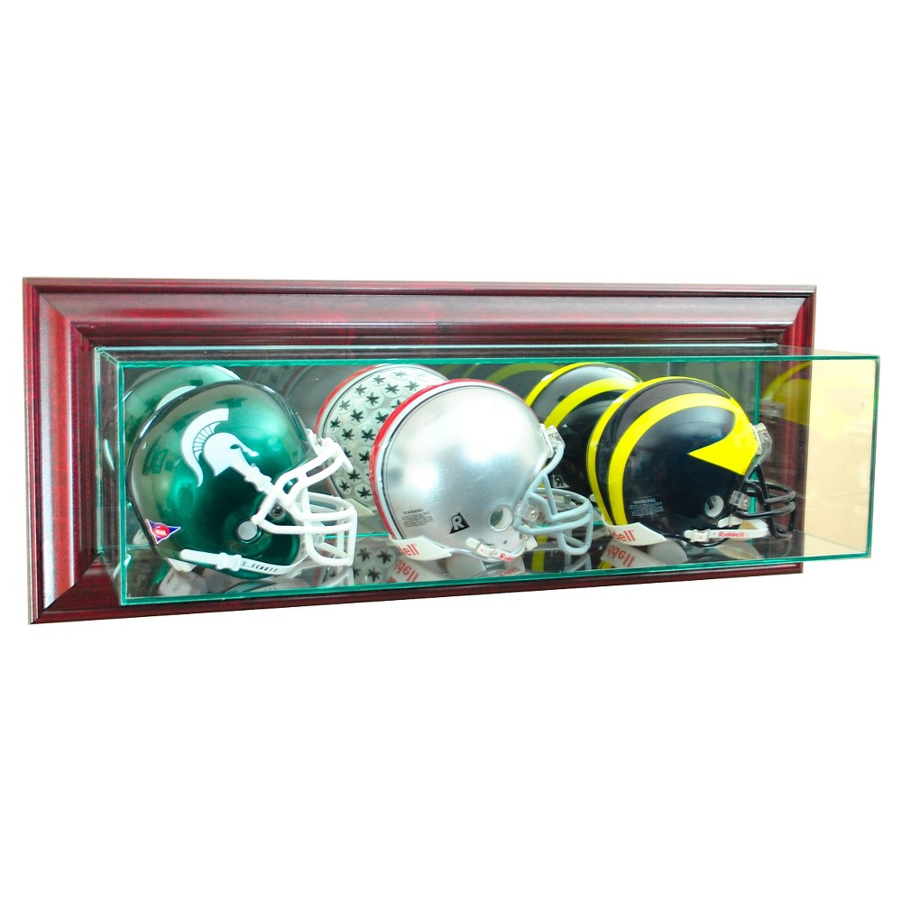 Perfect Cases - Wall Mounted Triple Mini Football Display Case - Cherry Finish, Clear