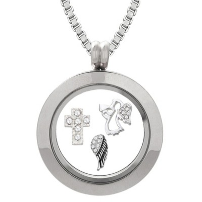 Treasure Lockets Silver Plated Stainless Steel Angel Charm Locket and Box Chain Necklace Set
