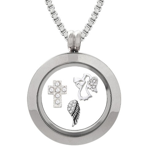 Treasure Lockets™ Silver Plated Stainless Steel Angel Charm Locket and Box Chain Necklace Set - image 1 of 1
