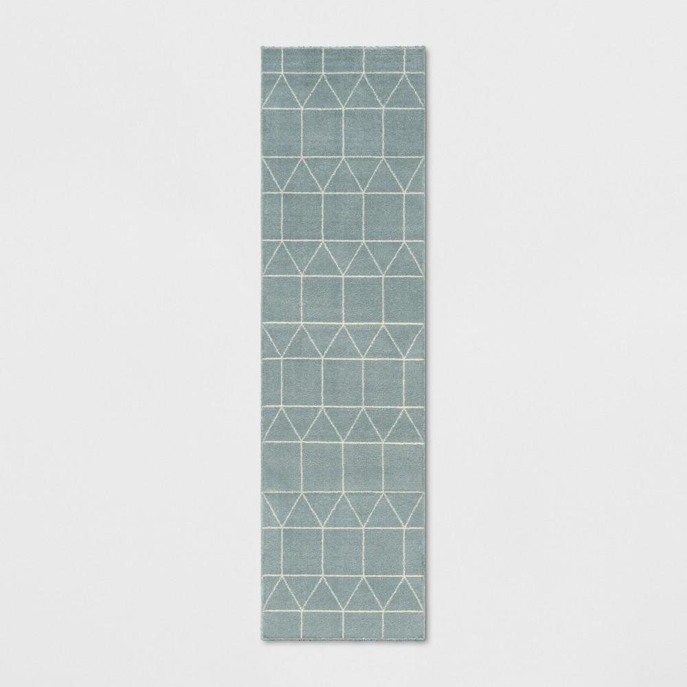 Elle Linear Grid Woven Runner Rug Aqua